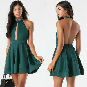 BEBE green embellished neck halter dress L